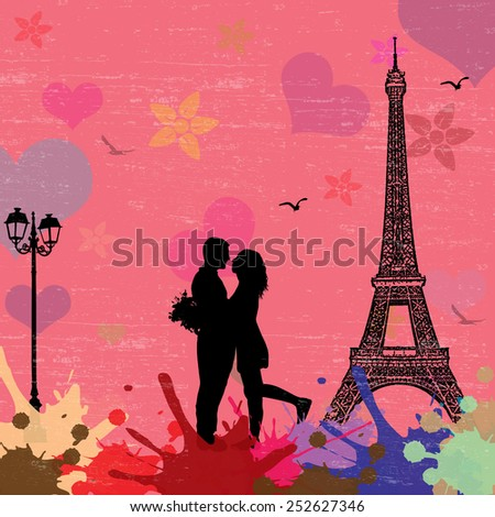 View of Paris on the grunge poster with colored splash and couple in love, vector illustration - stock vector
