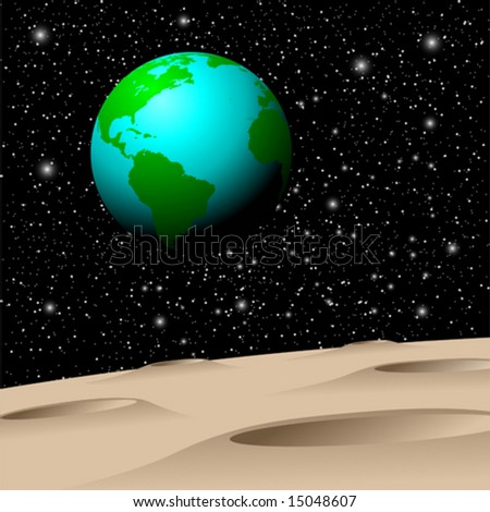 View of Planet Earth from the Moon - stock vector
