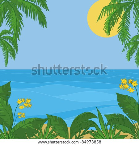 view of sea, sun and sky, frame of a tropical foliage and flowers - stock vector