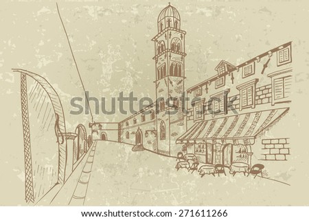 View of Stradun street in old Dubrovnik. Croatia. Vector sketch in retro style.