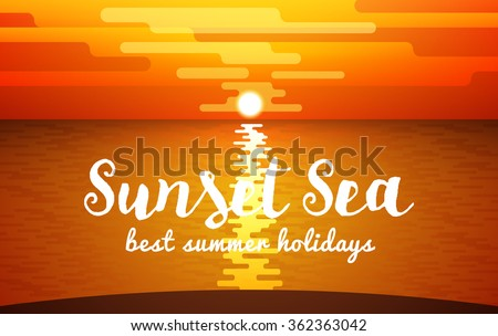 View of Sunset Sea. Vector illustration