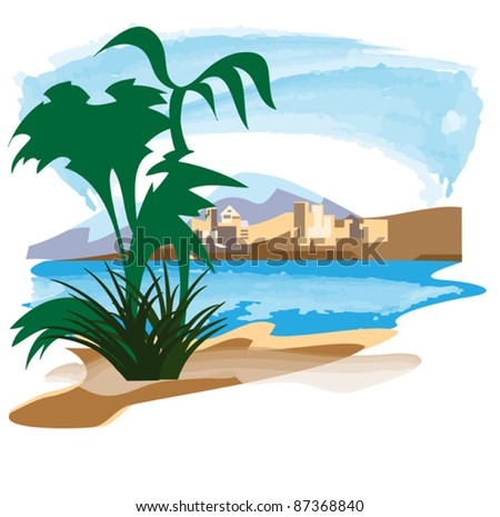 View of the ancient city, located on the Gulf coast in the equatorial zone - stock vector