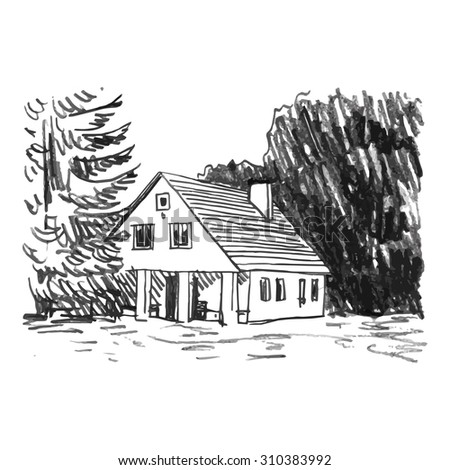 View Of The Country House In Woods Vector Freehand Pencil Sketch