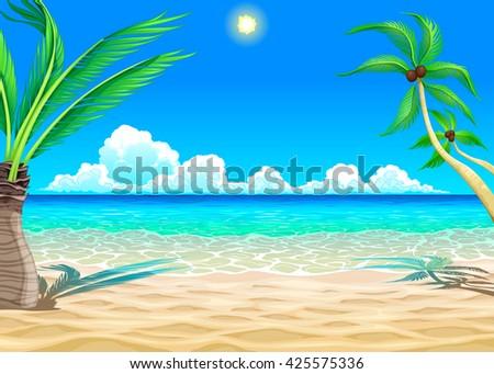 View on the beach. Vector cartoon illustration. - stock vector