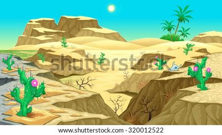 View on the desert. Vector cartoon illustration - stock vector