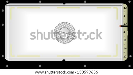 viewfinder view of a panorama camera, free space for - stock vector