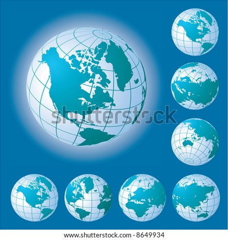 Views of globe. Vector