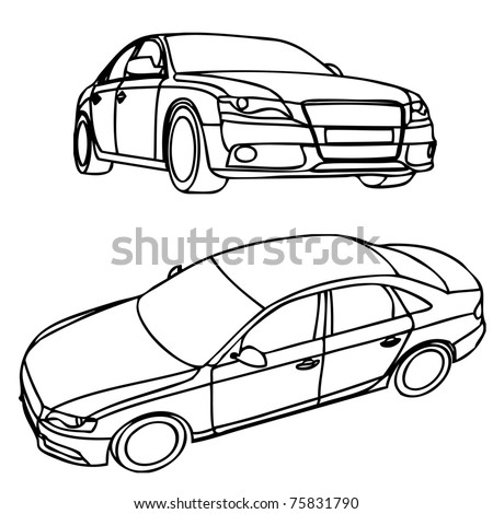 Views of hand drawn car model - stock vector