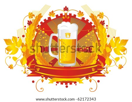 vignette with a pint of beer, tape, cones and leaves of wheat hops - stock vector