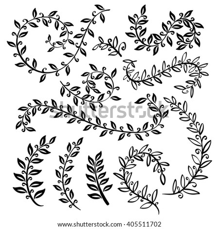 vignettes and floral border Monochrome vintage set with herbs. Sketch of flowers and herbs. Illustration for greeting cards, invitations, and other printing and web projects. art - stock vector