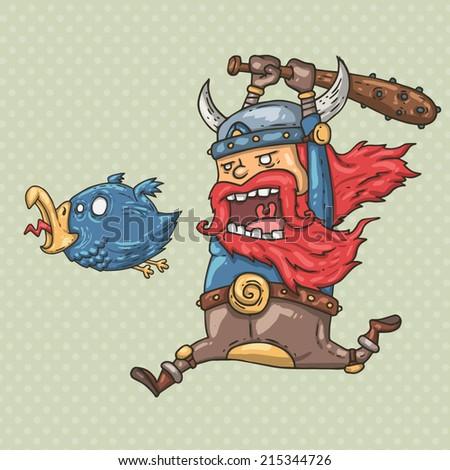 Viking and bird - stock vector