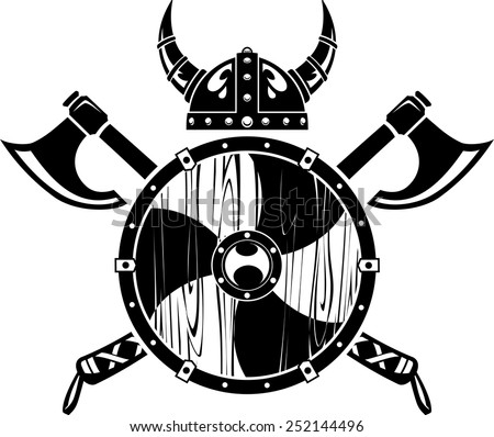 Viking Axe Shield and Helm - stock vector