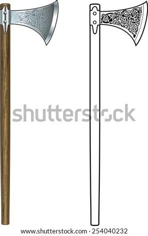 viking battle axe - stock vector