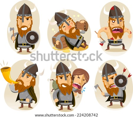 Viking cartoon character - stock vector