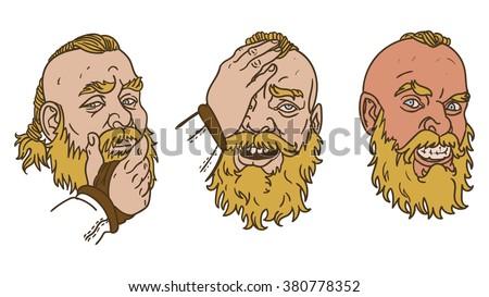 Viking emotions - stock vector