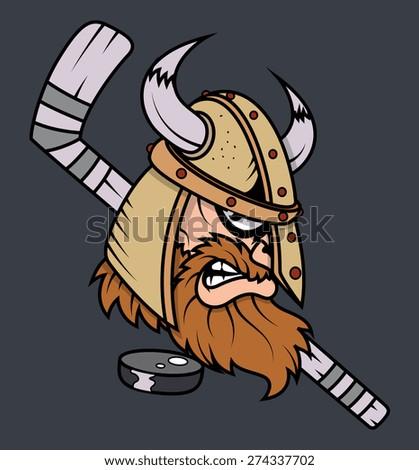 Viking Mascot with Ice Hockey and Puck Vector - stock vector