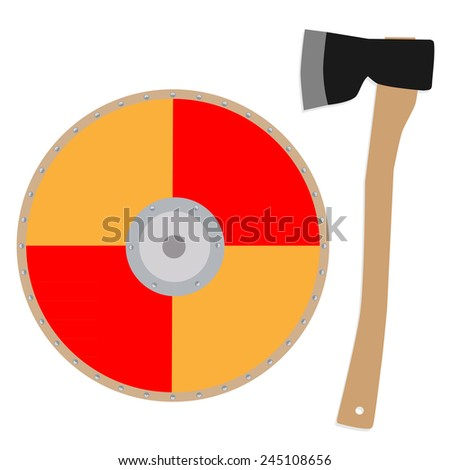 Viking shield and axe  vector icon set , round orange shield - stock vector