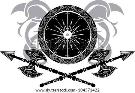 Viking shield with axe vector illustration for web - stock vector