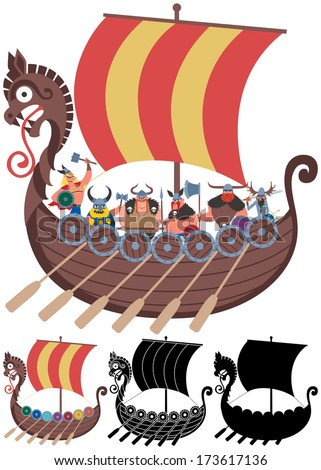 Viking Ship on White: Cartoon Viking ship in 4 versions. No transparency and gradients used.  - stock vector