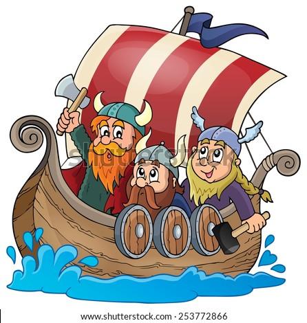 Viking ship theme image 1 - eps10 vector illustration. - stock vector