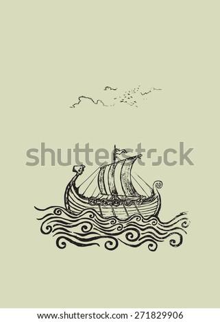 Viking ship. Viking ship at the stormy sea.pencil drawing illustration - stock vector