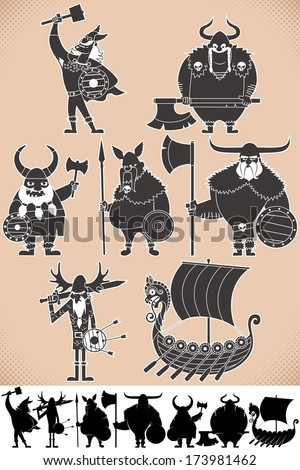 Viking Silhouettes: Set of cartoon Viking silhouettes, each in 2 versions. No transparency and gradients used.  - stock vector