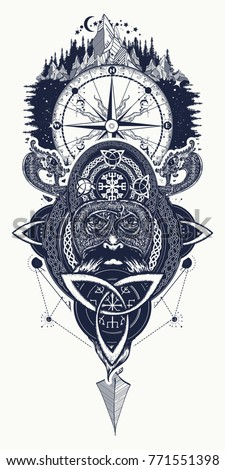 Viking Warrior Compass Mountains Tattoo Northern Stock