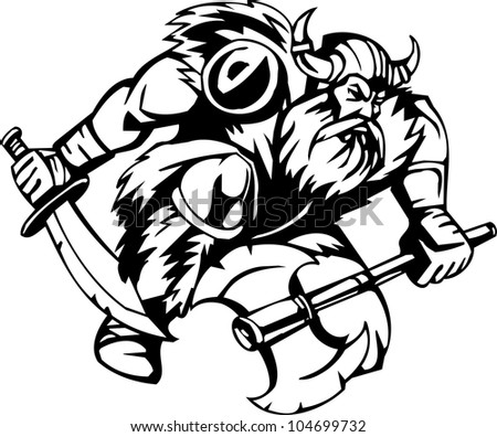 Viking with a sword - black white vector illustration. Vinyl-ready. - stock vector