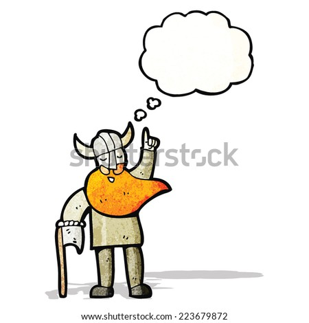 viking with axe - stock vector