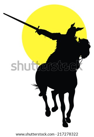Viking with sword on horseback on sun background. Vector silhouette - stock vector