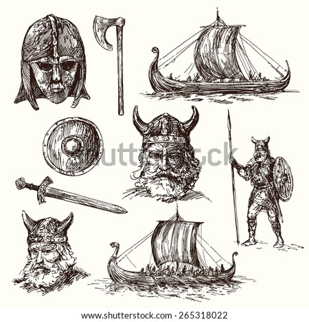vikings - hand drawn set - stock vector