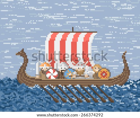 Vikings Sail On A Ship At Sea, Illustration In Pixel Art Style - stock vector