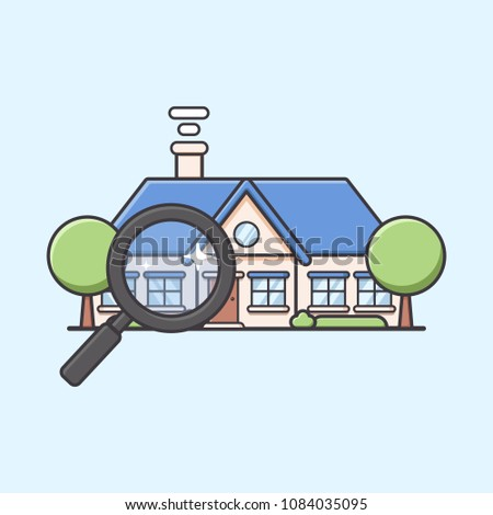 Awesome Villa Mansion Or Big House Finder With Magnifying Glass In Cute Round Style  Illustration