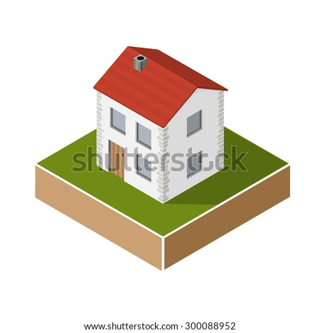 village house in isometric projection - stock vector