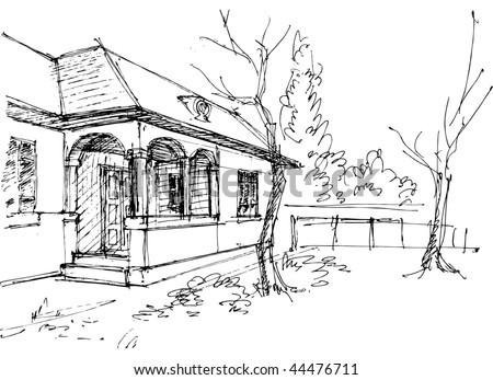 Village house sketch - stock vector