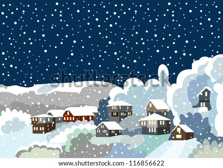 Village in winter - stock vector