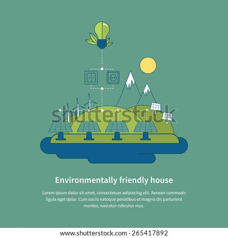 Village landscape. Environmentally friendly house. Flat design vector concept illustration with icons of ecology, environment, eco friendly energy and green technology. Thin line icons. - stock vector