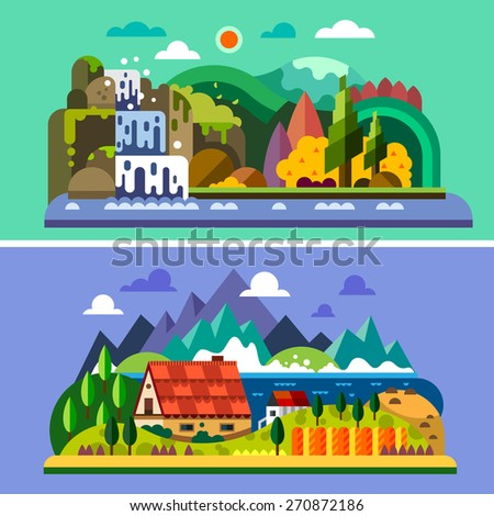 Village landscape: house in mountains, river, sea, waterfall, forest. Vector flat illustrations - stock vector