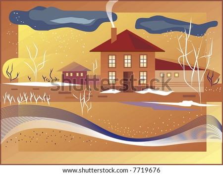 Village landscape vector - stock vector