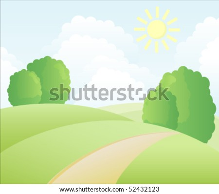 Village summer landscape - stock vector