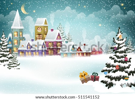 Village winter landscape with snow covered houses and  christmas tree with Christmas presents.