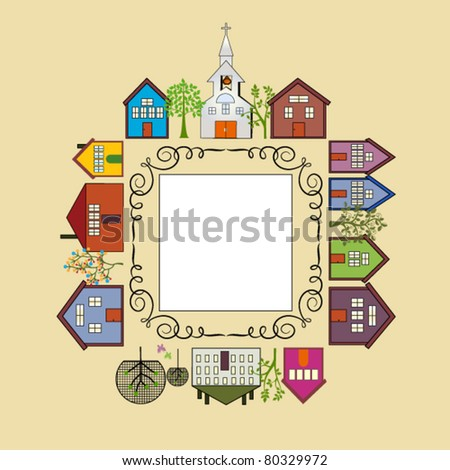 Village with trees and graphic center frame ( 5 different trees) - stock vector