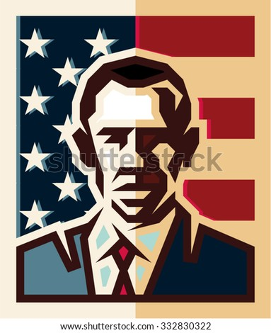Vilnius/Lithuania - October 27, 2015: President of the United States Barack Obama isolated flat style vector icon on the background of the American flag - stock vector