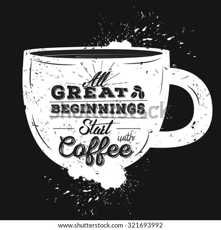 Vinage Coffee Typography poster. Template for cafe, cover or your art works - stock vector