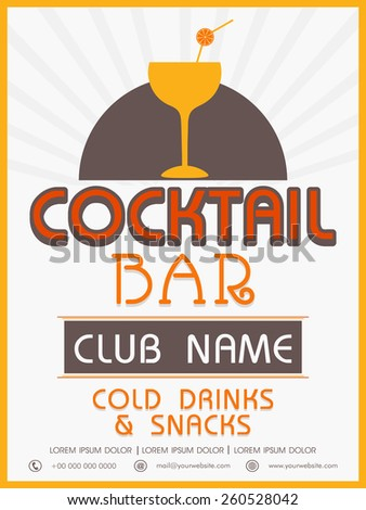 Vinatge menu card design of Cocktail Bar for club, pub and night beer party. - stock vector