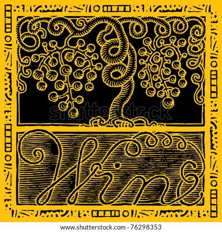vine grape and wine original woodcut - stock vector