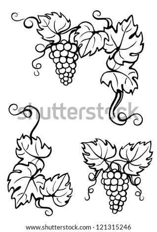 Vine Leaves Corner Black White