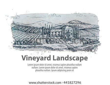 Vineyard landscape. Hand drawn sketch farm, agriculture, harvest, winery - stock vector