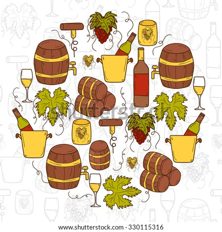 Vineyard or restaurnt concept with cartoon wine objects in hand drawn style: bottle, glass, barrel, grapes for your design - stock vector