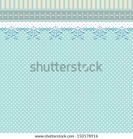 vintage abstract Christmas background with lace ornament and polka dots, for invitation or greeting card. Vector, EPS 8 - stock vector